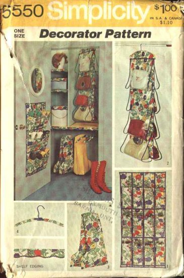 Simplicity Sewing Pattern 5550 Closet Organizer Shoe Holder Decorated Hangers