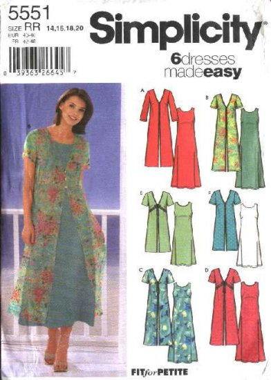 Simplicity Sewing Pattern 5551 Misses Size 6-8-10-12 Easy Sleeveless A-line Dress  Duster