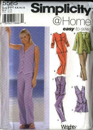 Simplicity Sewing Pattern 5565 Misses Size 6-12 Easy Cropped Pants Shorts Tops Cardigan Vest