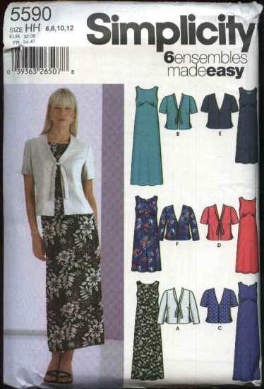 Simplicity Sewing Pattern 5590 Misses Size 6-12 Easy Empire Waist Sleeveless Dress Jacket