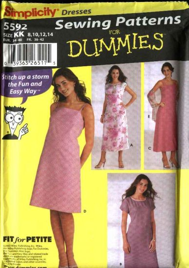 Simplicity Sewing Pattern 5592 Misses Size 8-10-12-14 Easy Pullover Slip Long Short Dress Shawl