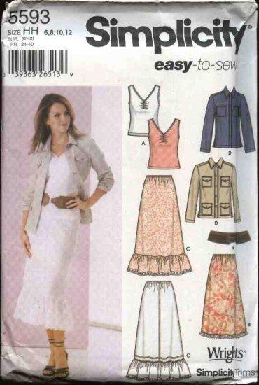 Simplicity Sewing Pattern 5593 Misses Size 14-22 Easy Wardrobe Skirts Jacket Knit Tank Top Belt