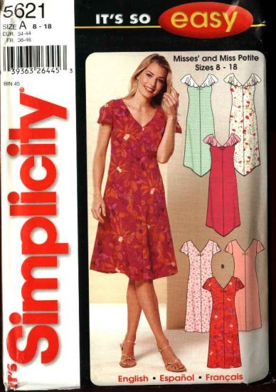 Simplicity Sewing Pattern 5621 Misses Size 8-18 Easy Summer V-Neck Dresses