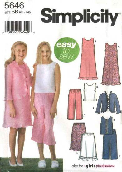 Simplicity Sewing Pattern 5646 Girls Plus Size 8½-16½ Easy Wardrobe Dress Pants Skirt Top Jacket