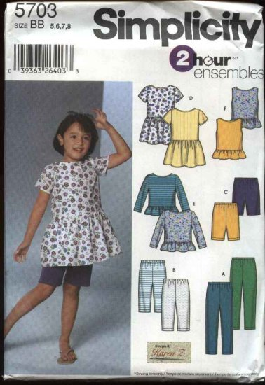 Simplicity Sewing Pattern 5703 Girls Size 5-8 Wardrobe Dress Top Knit Pants Capris Shorts