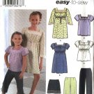Simplicity Sewing Pattern 5722 Girls Size 3-6 Easy Wardrobe Pullover Dress Top Fitted Pants Skirt