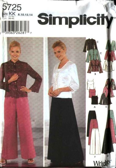 Simplicity Sewing Pattern 5725 Misses Size 16-24 Formal Prom Long Skirt Pant Camisole Jacket