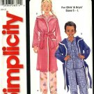 Simplicity Sewing Pattern 5757 Children Boys Girls Size 3-8 Pajamas Robe Pants Button Front Top
