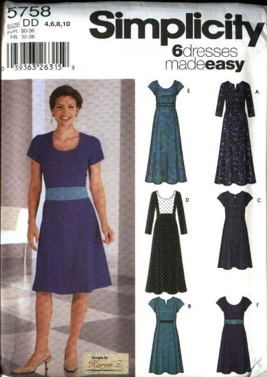 Simplicity Sewing Pattern 5758 Misses  Size 4-10 Easy Princess Seam Inset Bodice Details Dresses