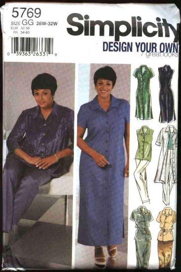 Simplicity Sewing Pattern 5769 Womens Plus size 18W-24W Wardrobe Dress Pants Skirts Shirt Tunic