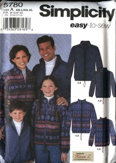 Simplicity Sewing Pattern 5780 Mens Misses Boys Girls Easy Zipper Front Casual jacket