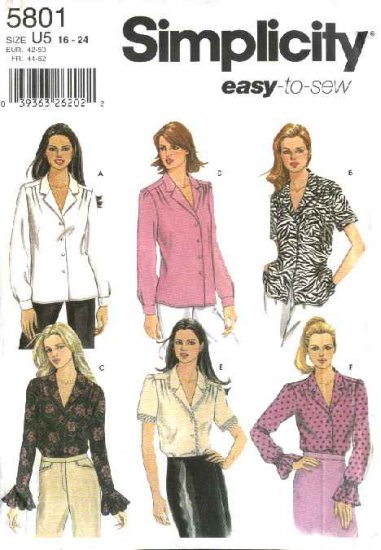 Simplicity Sewing Pattern 5801 Misses Size 8-14 Easy Classic Long Short Sleeved Blouses Shirts Top