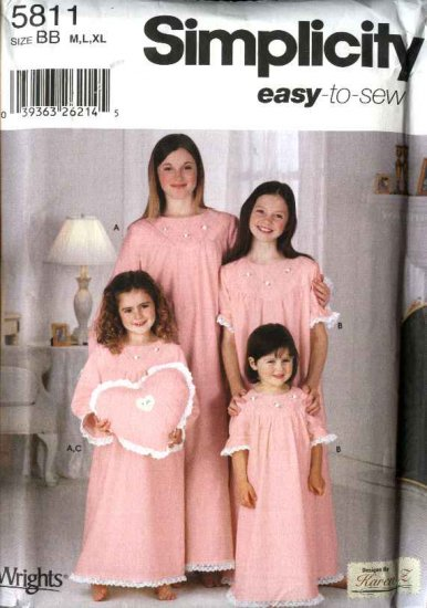 Simplicity Sewing Pattern 5811 0639 Girls Size 7-16 Easy Long Short Sleeve Nightgown Heart Pillow