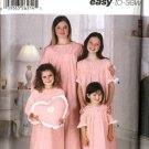 Simplicity Sewing Pattern 5811 Girls Size 7-16 Easy Long Short Sleeve Nightgown Heart Pillow