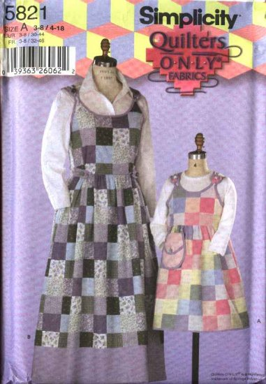 Simplicity Sewing Pattern 5821 Girls Misses Size 3-8/4-18 Quilted Jumpers