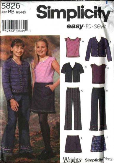 Simplicity Sewing Pattern 5826 Girls Size 8-16 Easy Wardrobe Skirt Jacket Knit Top Pants