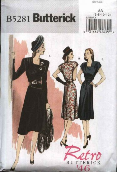 Butterick Sewing Pattern 5281 Misses Size 6-12 Retro 1946 Style Day Dress Long Short Sleeves