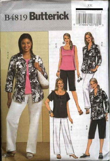 Butterick Sewing Pattern 4819 Womans Plus Size 18W-24W  Easy Wardrobe Shirt Shorts Top Pants