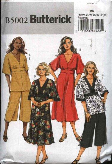 Butterick Sewing Pattern 5002 Womans Plus Size 18W-24W Easy Raised Waist Dress Top Pants