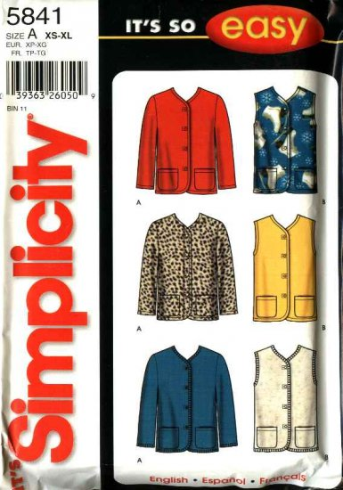 Simplicity Sewing Pattern 5841 Misses Size 6-24 Easy Cardigan Unlined Button Front Jacket Vest