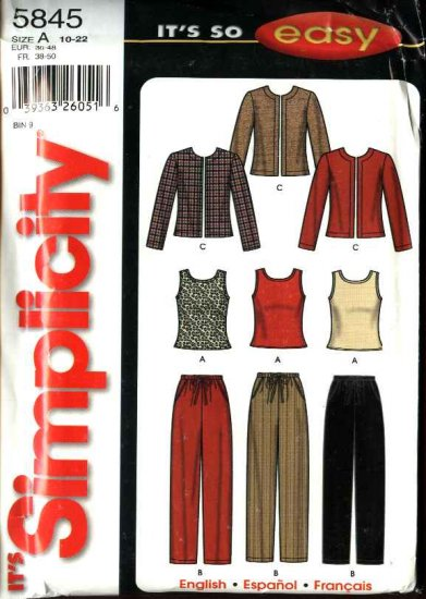 Simplicity Sewing Pattern 5845 Misses Size 10-22 Easy Long Sleeve Jacket Pull-on Long Pants Knit Top