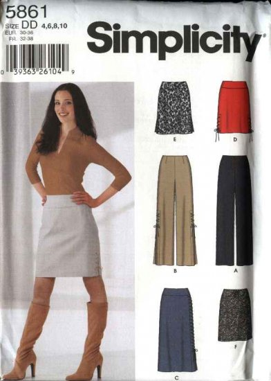 Simplicity Sewing Pattern 5861 Misses Size 4-10 Yoke Straight Long Short Skirt Long Fitted Pants