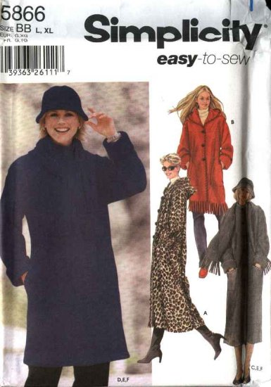 Simplicity Sewing Pattern 5866 Misses Size 6-16 Easy Hooded Long Short Coat Scarf Hat