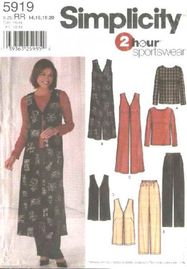 Simplicity Sewing Pattern 5919 Misses Size 6-12 Wardrobe Pullover Top Jumper Vest Pull on Pants