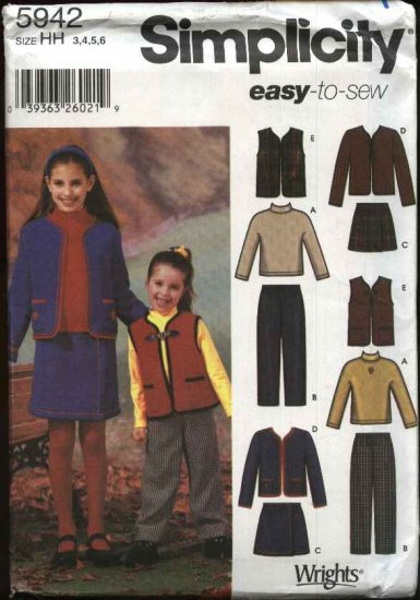 Simplicity Sewing Pattern 5942 Girls Size 7-14 Easy Wardrobe Knit Top Vest Skirt Pants Jacket