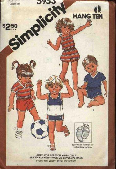 Retro Simplicity Sewing Pattern 5953 Boys Girls Size 3 Hang Ten Shorts Tops Romper