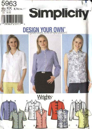 Simplicity Sewing Pattern 5963 Misses Size 8-14 Button Front Classic Blouses Shirts Tops