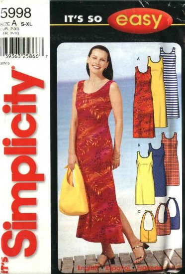 Simplicity Sewing Pattern 5998 Misses Size 10-24 Easy Pullover Summer Dress Sundress Bag Purse