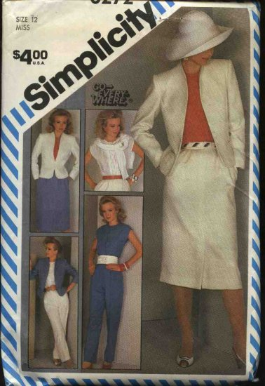 Simplicity Sewing Pattern 6272 Misses Size 12 Wardrobe Skirt Pants Jacket Top