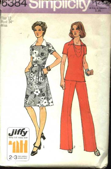 Retro Simplicity Sewing Pattern 6384 Misses Size 12 A-line Dress Top Pants Pantsuit Belt