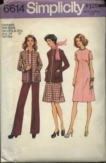 Retro Simplicity Sewing Pattern 6614 Misses Half Size 10 ½ and 12 ½  A-Line Dress Pants Cardigan