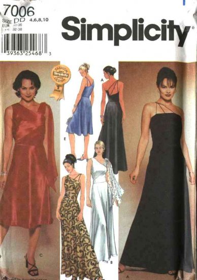 Simplicity Sewing Pattern 7006 Misses Size 4-10 Formal Prom Bias Evening Dress Long Short Gown