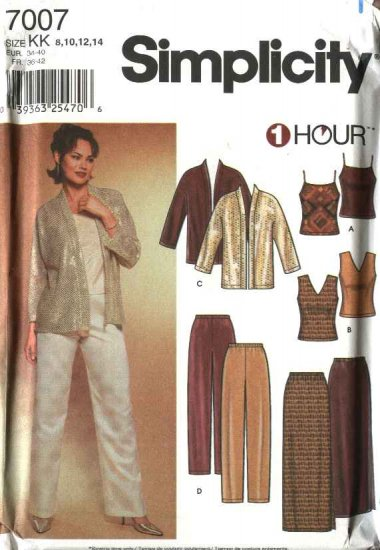 Simplicity Sewing Pattern 7007 Misses Size 8-14 1 Hour Wardrobe Jacket Pants Skirt Tops Camisole