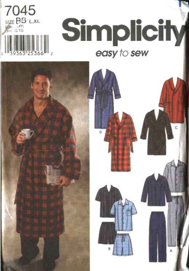 "Simplicity Sewing Pattern 7045 Mens Chest Size 30-40"" Easy Pajamas Robe Bathrobe Top Pants Shorts"