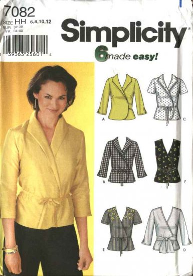 Simplicity Sewing Pattern 7082 Misses Size 6-12 Easy Wrap Tops Blouses