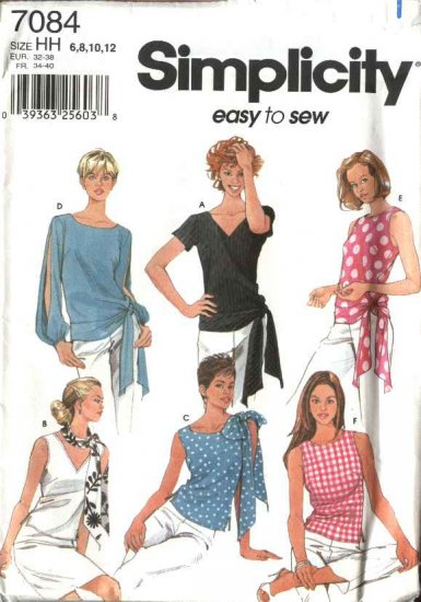 Simplicity Sewing Pattern 7084 Misses Size 6-12 Easy Summer Blouses Tops Scarf