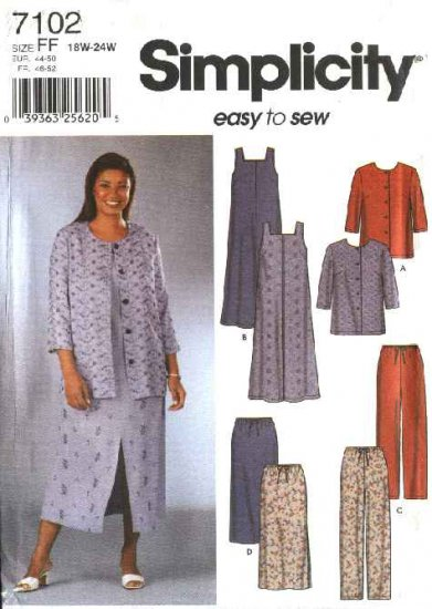 Simplicity Sewing Pattern 7102 Womans Plus Size 18W-24W Easy Wardrobe Jumper Jacket Skirt Pants