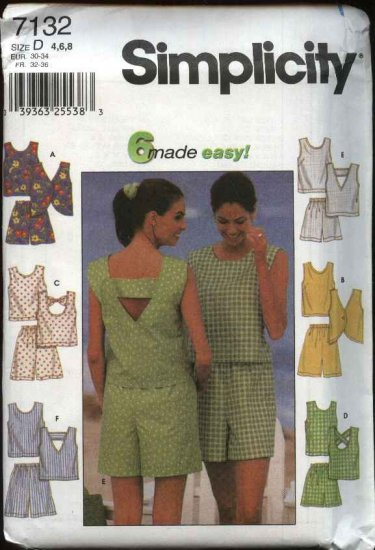 Simplicity Sewing Pattern 7132 7700 Misses Size 4-8 Easy Summer Shorts Pullover Sleeveless Tops