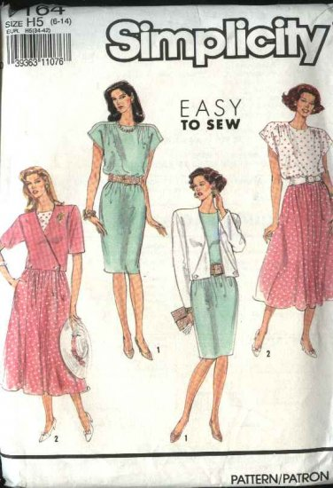 Simplicity Sewing Pattern 7164 Misses Size 6-14 Easy Pullover Dress Unlined Jacket