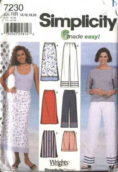Simplicity Sewing Pattern 7230 Misses Size 14-20 Easy  Fitted Skirts Cropped Pants Shorts