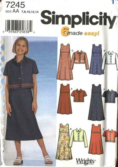 Simplicity Sewing Pattern 7245 Girls Size 7-14 Easy Sleeveless Pullover Dress Button Front Jacket