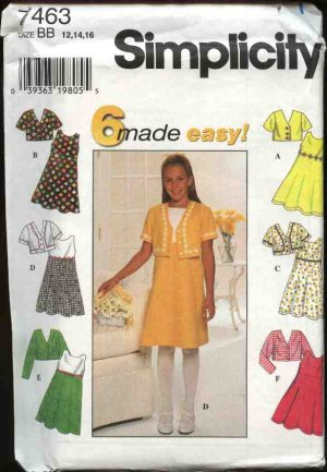 Simplicity Sewing Pattern 7463 Girls size 12-16 Easy Sleeveless Raised Waist Dress Jacket