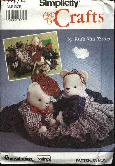 """Simplicity Sewing Pattern 7474 Sitting or Reclining 20"""" Bear Bunny Clothes"""