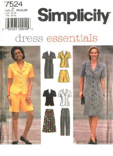 Simplicity Sewing Pattern 7524 Misses Size 8-12 Wardrobe Dress Top Pants Skirt Walking Shorts