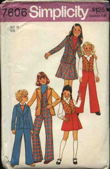 Retro Simplicity Sewing Pattern 7606 Girls Size 12 Jacket Skirt Pants Vest