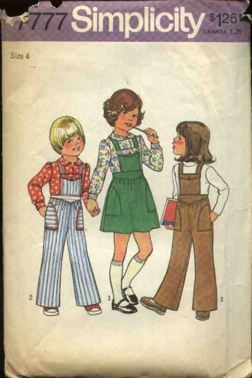 Retro Simplicity Sewing Pattern 7777 Girls Size 4 Overalls Jumper Blouse